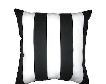 SALE Black and White Outdoor Pillow Cover - Deck Stripe Black Pillow Cover - Black and White Stripe Outdoor Pillow - Black Outdoor Pillow Ca