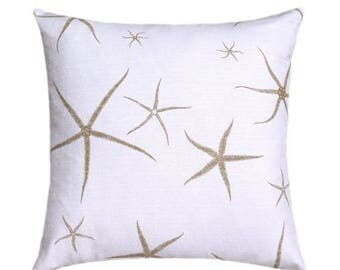 SALE Starfish Pillow, Taupe Starfish, Decorative Pillow, Throw Pillow, Toss Pillow, Nautical Pillow, Sea Star Sand, Home Decor, Lacefield Pi