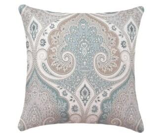 SALE Kravet Ikat Pillow Cover, Taupe, Sea Green, Light Blue Decorative Pillow Cover, Latika Seafoam Medallion Linen Throw Pillow, Kravet Pil