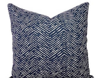 SALE Navy Herringbone Throw Pillow Cover, Navy and White Pillow Cover, Chevron Pillow, Cameron Navy Pillow Cover, Chevron Pillow, Navy Chevr