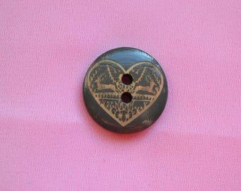 button, wood, heart, green, 23 mm diam.