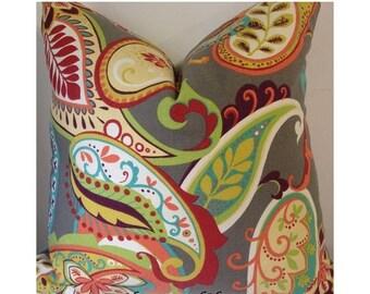 Summer SALE Zipper Closure Covington Whimsy Paisley Mardi Gras plum yellow pillow cover Decorative Throw Pillow 12 x 18 14x 14 16x16, 18x18,