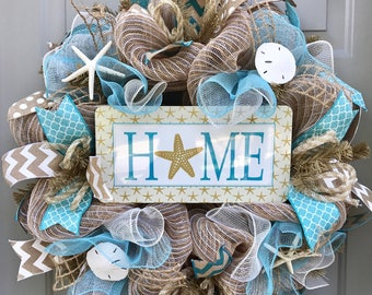 Home Beach Burlap Deco Mesh Wreath with Seashells, Seashell Wreath, Beach Wreath, Starfish Wreath