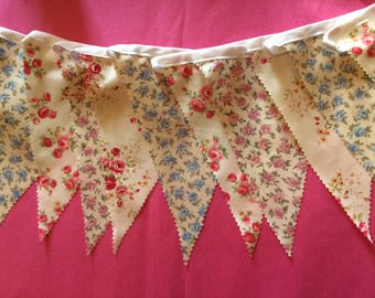 Pretty Party/Wedding Bunting -  sold in 5m (16ft) lengths - Single sided Large Flags - Rose, Floral, Pink, Blue,Cream, White