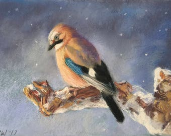 Original Painting of Jay Bird in the Snow