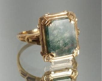 ON SALE Vintage - ***Never Worn*** 10K Solid Yellow Gold Art Deco Agate Signet Ring Retro Vintage