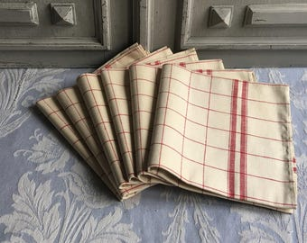 """6 Vintage French tea towels linen """"torchons"""", AS NEW chequered red cream beautiful set of 6, unused metis linen, checked antique paris chic."""