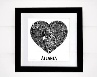 Atlanta Heart Map, More Cities Available! Atlanta Buildings, Downtown Atlanta Map