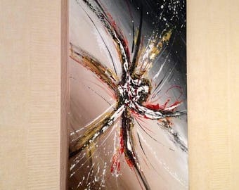 """Black abstract acrylic painting """"imaginary Comet"""""""