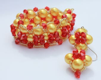 red gift for her red jewelry Red jewelry set Classic jewelry bracelet earring set glass pearl set red and golden