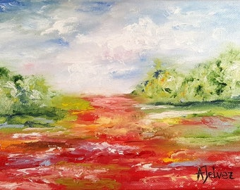 "Poppy painting Small oil painting Poppy art Landscape painting Poppy flower painting Original landscape oil painting by Alina Jelvez 6x8"""