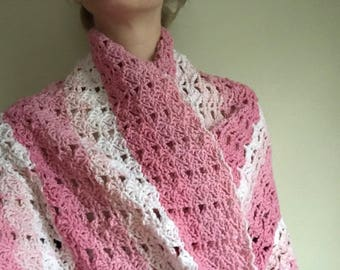 Crochet Shawl, Homemade, Hand-Crocheted, Beautiful Pink Shawl; Winter Accessory