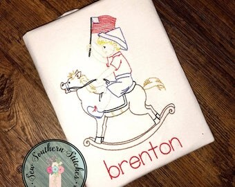 Sketched Boy On Rocking Horse Embroidery Design ~ Instant Download ~ Vintage~Sketch~Bean~Heirloom Stitch