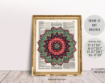Mandala Wall Art, Mandala Wall, Sacred Geometry, Flower Of Life, Yoga Art, Meditation Art