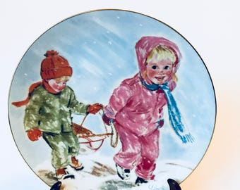 Frances Hook, First Snow, Collectible Plate, Frances Hook Plate, 1984, A Child's Play