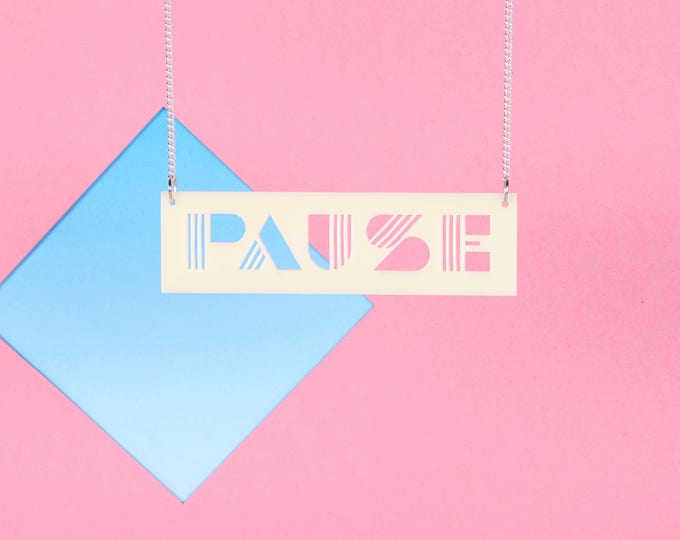 PAUSE Typographic CREAM acrylic statement necklace