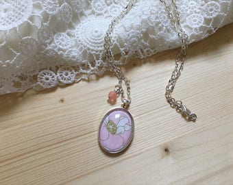 Pink Flower Cameo Necklace