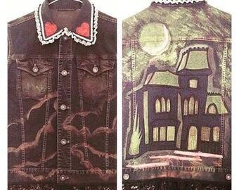 Haunted House Denim Vest