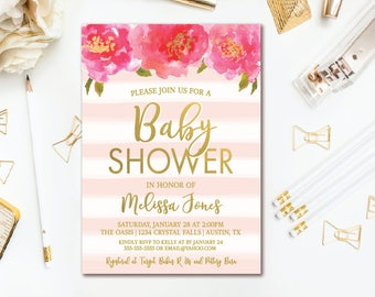 Floral Baby Shower Invitation, Gold & Pink Stripe Girl Baby Shower, Printable Invites
