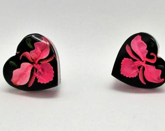Iris Lucite Heart Earrings - Pink Iris Earrings - Reverse Carved Earrings  - Black Background Carved Lucite - February Birthday Flower