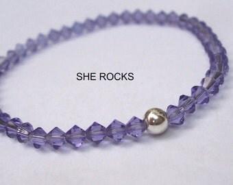 Purple Swarovski crystal stretch bracelet Sterling Silver OR Gold fill bead 4mm tiny Tanzanite crystal bead bracelet stacking jewellery