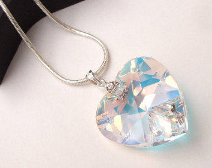 Large AB Swarovski crystal heart pendant necklace - Sterling Silver