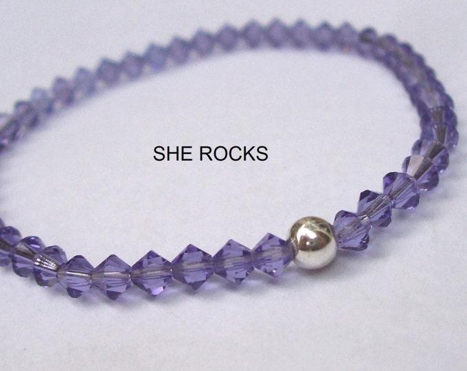 Purple Swarovski crystal stretch bracelet with Sterling Silver or 14K Gold Fill bead