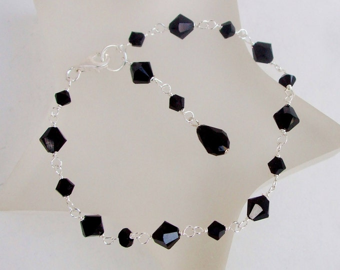 Black Swarovski crystal bracelet in Sterling Silver or Gold