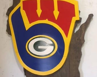 3 in 1 Wisconsin Team Wall Art Badgers Packers Brewers