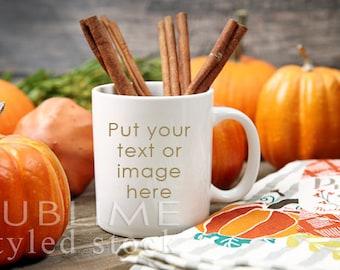Fall Mug Mockup / Blank Mug / Pumpkins / Cup Mockup / Styled Mug / Styled Stock Photography / Coffee Cup / Background / StockStyle-876