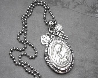 Cats Patron St. Gertrude of Nivelles Catholic Holy Medal Locket Necklace, Catholic Gift, Antique Silver Locket