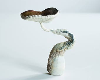 Brown-white mushroom, fiberart, soft sculpture