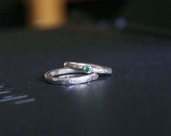 Partner-rings set: 1xRund-oval-ring (2, 5mm) + 1 x stone ring (925 Silver)