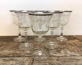 Silver Banded Glassware Platinum Ringed Stemware Water Wine Glasses Multiple Silver Bands Vintage Wedding Gift Bridal Gift Set of 6