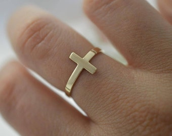 Mother's day gift Cross ring 10k gold, Women's gifts, Religious rings,10k sideways cross ring, Minimalist cross ring.