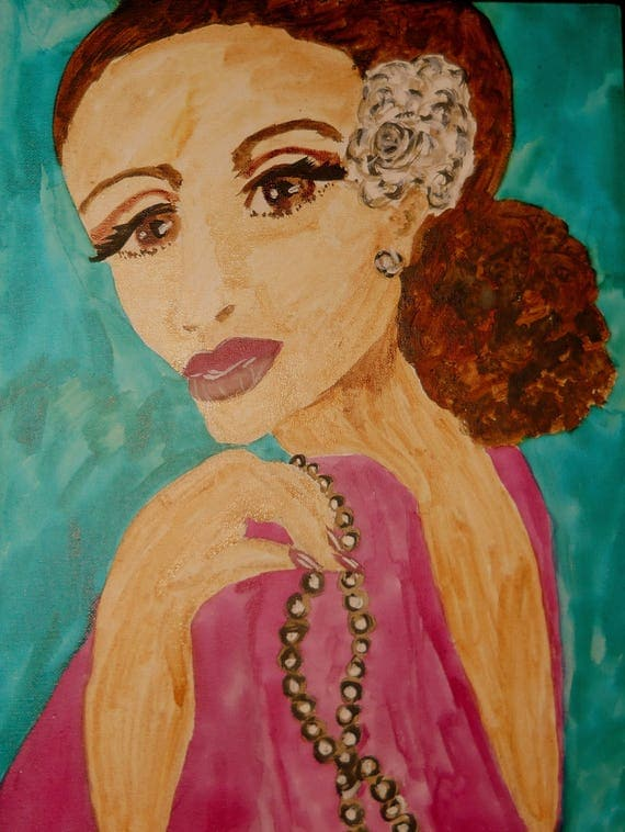 "Original Portrait - ""SUGAR,"" Acrylic Painting, 16 x 12"" Canvas. Framed - Outsider Folk Art, by Artist Stacey Torres"