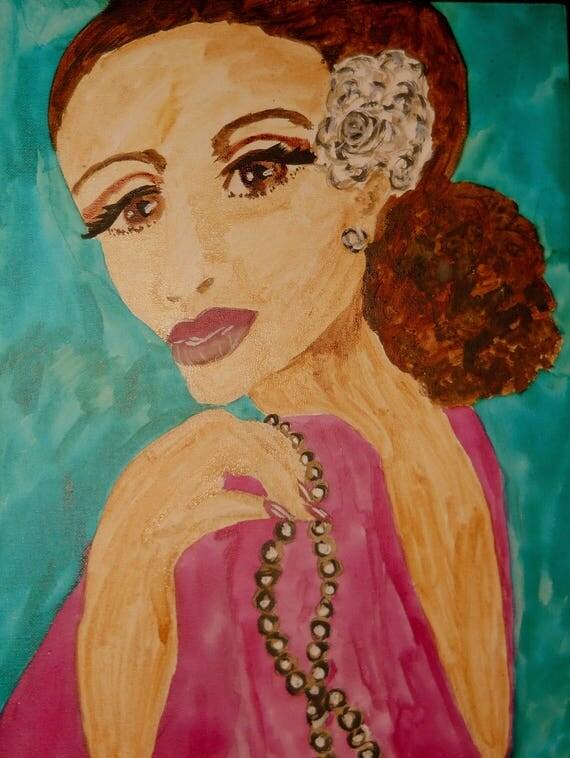 "Original Portrait - ""SUGAR,"" Acrylic Painting, 16 x 12"" Canvas. Framed - Outsider Folk Art, by Artist Stacey Torres"