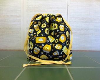 Jars of Honey - Jumbo Drawstring, Divided Knitting Project Bag, Crochet Bag, Sweater Project Bag, Knitting Organizer