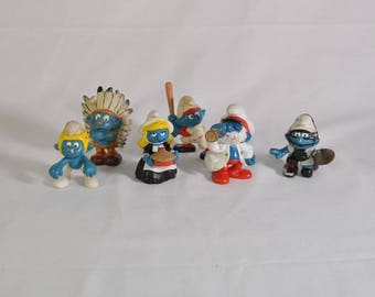 Lot of 6 1980's Smurfs by Schleich and Peyo