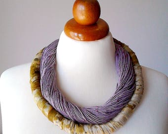 Purple necklace silk necklace double strand necklace lilac necklace big bold necklace unique jewelry unusual jewelry for women gift for her