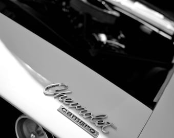 1967 Camaro, Classic Car Photography, Black and White Photo, Automobile Photo, Chevrolet