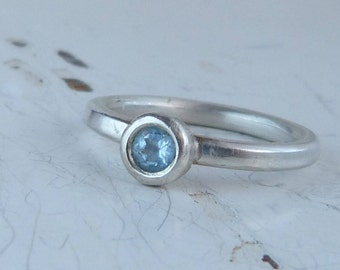 Sterling Silver Blue Topaz Ring, Silver Ring, Silver Stacking Ring, Solitaire Ring, Chunky Ring, Boho RIng, Blue Stone Ring, Topaz ring.
