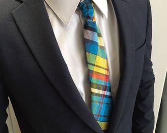 Madras blue tie