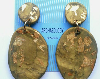 ARTEMIS Gold/Olive Ancient Greek Inspired Statement Earrings - Polymer Clay and Gold Foil