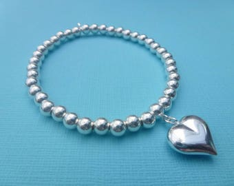 Sterling Silver 925 5mm Round Ball Beaded Stretch Bracelet With Puffy Heart Charm Stacker Bracelets Roodle Rice Noodle