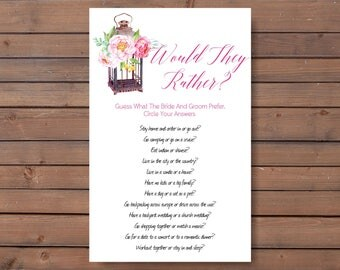 couples shower games, unique bridal shower game, would they rather, diy wedding shower game, games printable, shower game ideas - br66