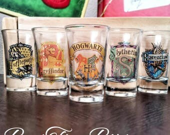 Hogwart House Shot Glasses | Harry Potter | Gryffindor | Slythrin | Hufflepuff | Ravenclaw | Gifts for him | Gifts for her | Vintage