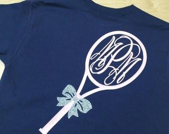 Girls Long Sleeve Monogrammed Tennis Shirt ©