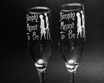 Nightmare Before Christmas inspired -Jack Skellington and Sally Champagne Flutes