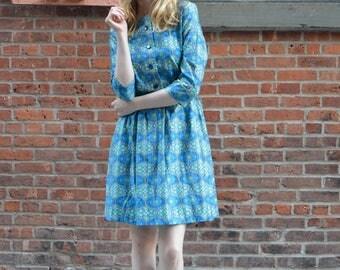 Southwestern Novelty dress | vintage 1950s dress | novelty print cotton 50s dress